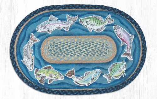 "Fish Swimming Oval Hand Printed Braided Patch Rug 20""x30"""