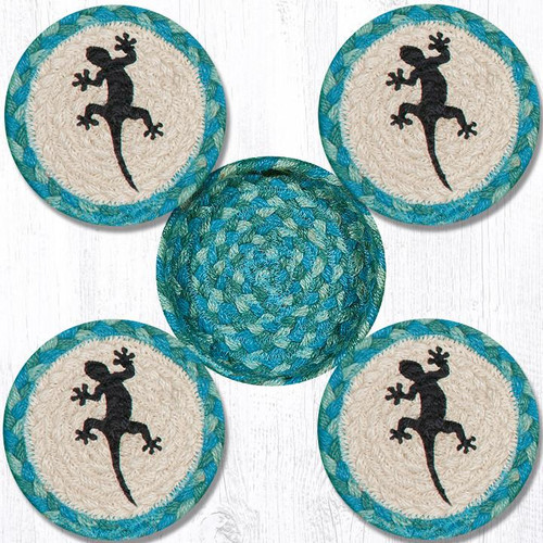 "Gecko Teal Natural Set or 4 Braided Coasters in Jute Basket 5"" CNB-473"