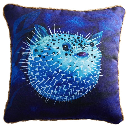 "Printed Puffer Fish 20"" Blue Decor Throw Accent Pillow"