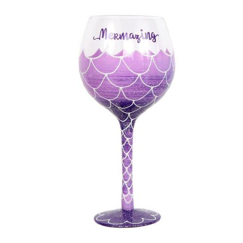 Mermaid Mermazing Purple Wine Hand Painted Glass 18oz - 20652B