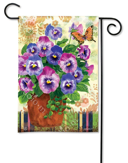 PRETTY PANSIES GARDEN FLAG