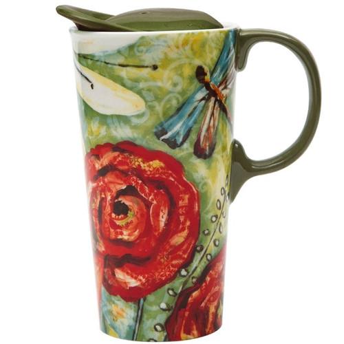 Dragonfly Garden Ceramic Travel Cup 17oz - 3CTM1902N