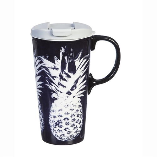 White Pineapple - Dark Navy Ceramic Travel Cup - 17oz