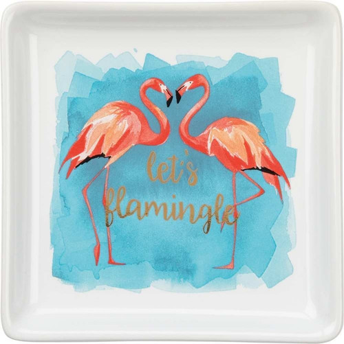 Colorful Flamingo Trinket Tray - Let's Flamingle - 35113