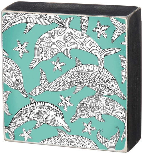 Dolphin Colorable Wall Art - Color a Sign - 33037