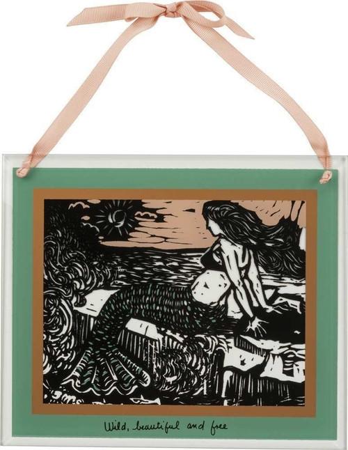 Mermaid Glass Panel - Wild Beautiful and Free - 35001