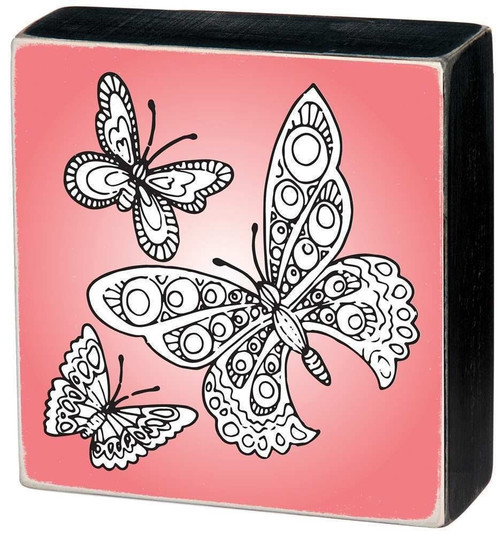 Colorable Butterfly Wall Art - Color a Sign - Three Butterflies a Pink