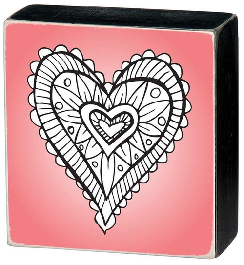 Colorable Heart 3 inch square Wall Art - Color a Sign - Heart on Pink Background