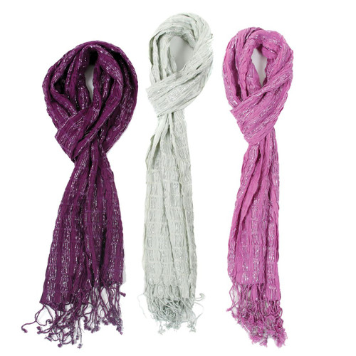 Solid Color Shimmer Fringe Scarf - 3 Colors Available - 10927