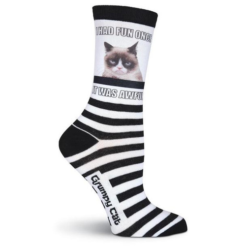 Women's Grumpy Cat I Had Fun Once Sub Crew Socks - GCWF15H006
