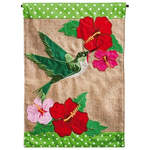 """Hummingbird Burlap Garden Flag - 12.5"""" x 18"""" - 14B3251"""