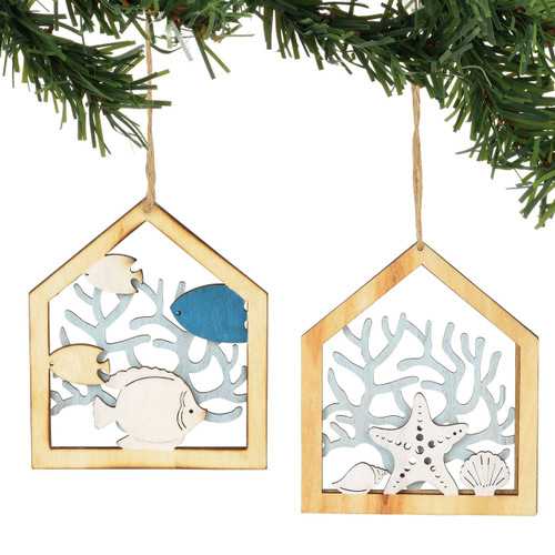 COAST Coral Wood Ornaments - Set of 2 - 6001911