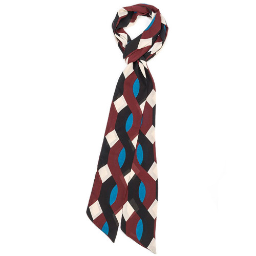 "Thin Geometric Scarf - Blue Maroon and Black - 4"" x 82"" 8736-5-C"