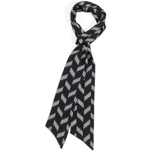 "Thin Geometric Scarf - Blue and Black - 4"" x 82"" 8736-5-D"