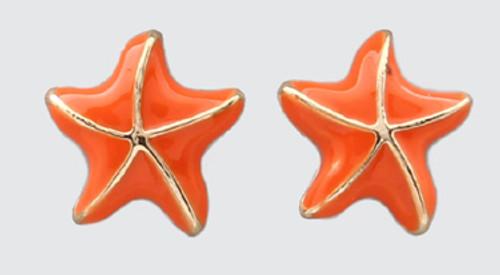 ORANGE/GOLD STARFISH Stud EARRING 46263