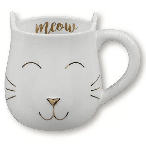 Meow Shaped Cat Ceramic Mug with Gold Metallic Accents - 18434
