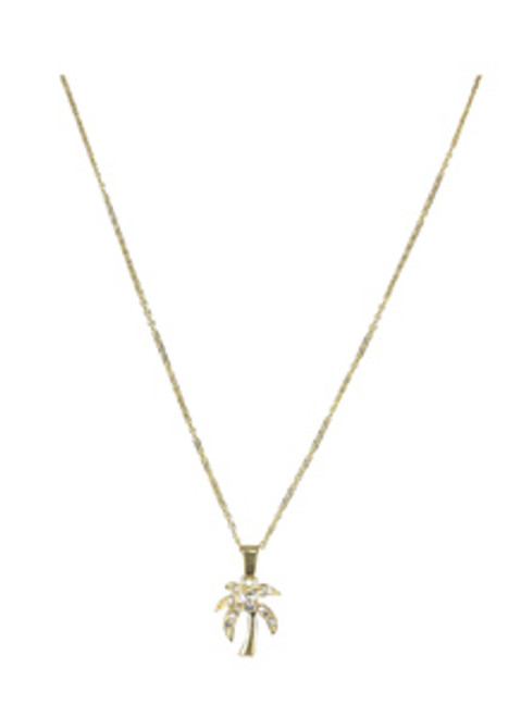 Palm Tree Necklace - Jeweled Gold Tone with Chain - 48196