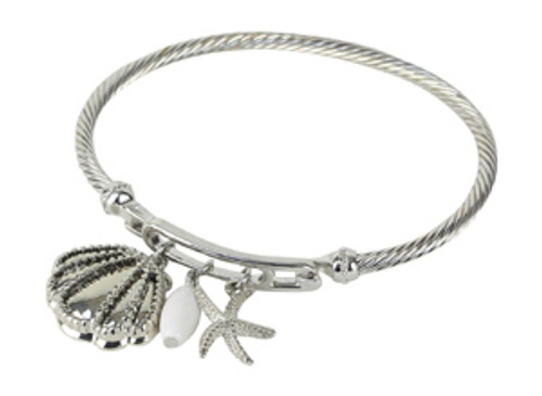 Sea Shell Charm Bracelet - Silver Tone Bracelet - 48218