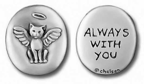 "Cat Pewter Pocket Memory Token that says ""Always With You"""
