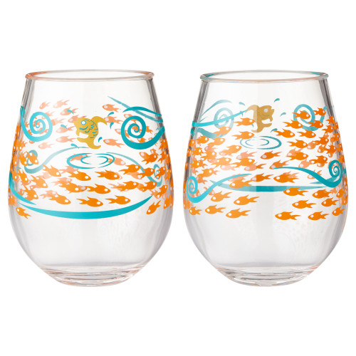 Lolita - Fish Out of Water Acrylic Stemless Wine Glass - SET of 2 - 6002194