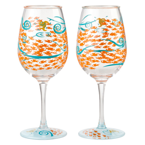 Lolita - Fish Out Of Water - Shatterproof Acrylic 16oz Wine Glass - SET of 2 - 6002193