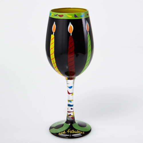 50th Birthday Gift - Hand Painted Glass 15oz Wine Glass - GLS11-5585J