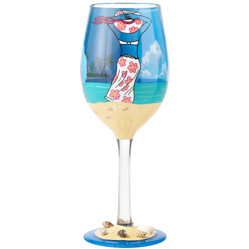 Beach Life - Hand Painted Glass 15oz Wine Glass - 6001311