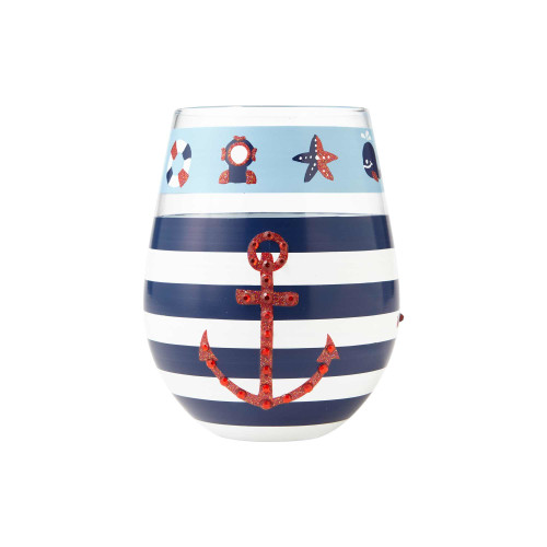Maritime - Hand Painted Glass 20oz Stemless Wine Glass