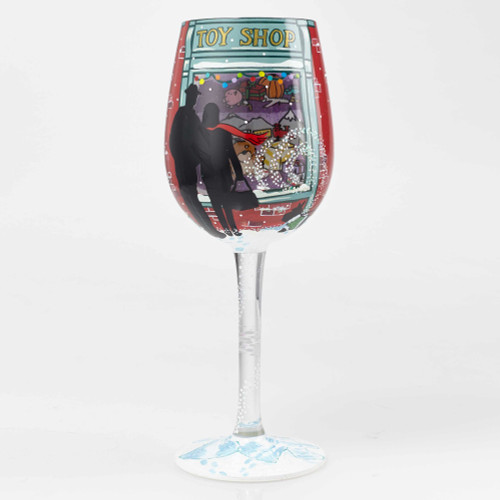 Holiday Toy Shop - Hand Painted Glass 15oz Wine Glass - 6001633