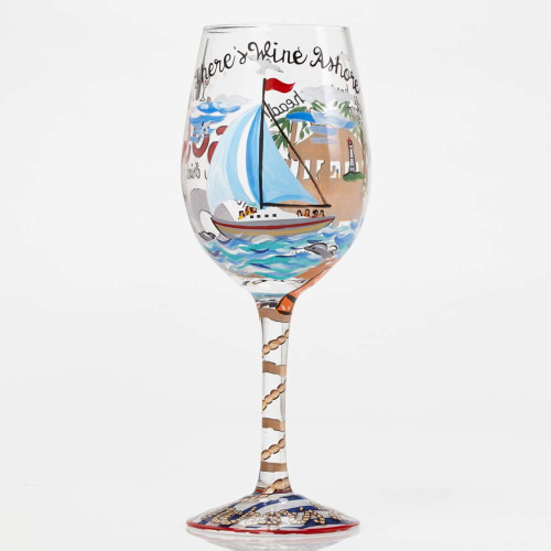 Anchors Away - Hand Painted Glass 15oz Wine Glass - 4053094
