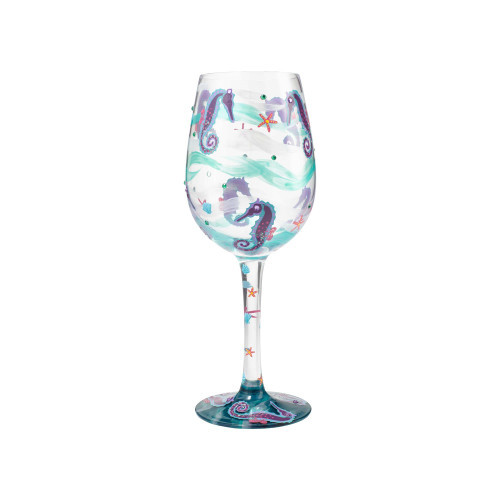 Seahorse - Handpainted Glass 15oz Wine Glass - 6000020