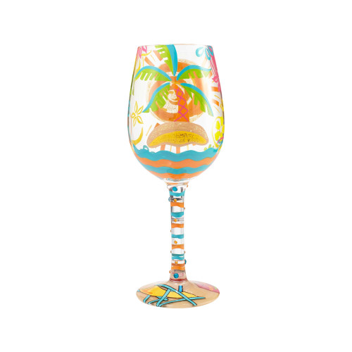 Here Comes Summer - Hand Painted Glass 15oz Wine Glass