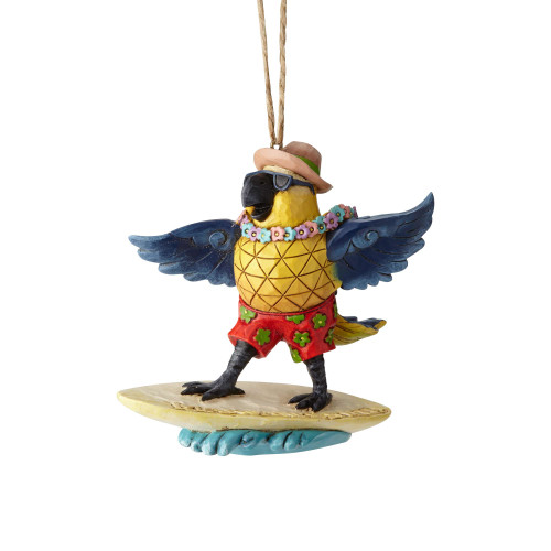 Jim Shore - Margaritaville Surfing Parrot Ornament 6001538
