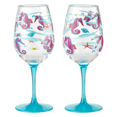 Lolita - Seahorse - Shatterproof Acrylic 16oz Wine Glass - SET of 2 - 6001641