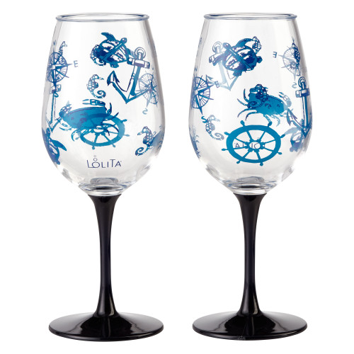 Lolita - Set Sail - Shatterproof Acrylic 16oz Wine Glass - SET of 2 - 6001642