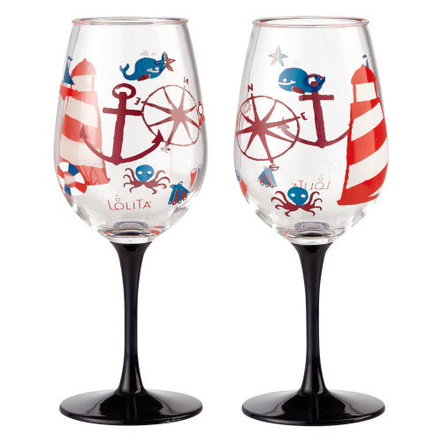 Lolita - Maritime Nautical  - Shatterproof Acrylic 16oz Wine Glass - SET of 2 - 6001643