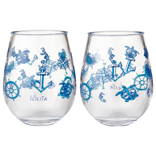 Lolita - Set Sail - Acrylic Stemless Wine Glass - SET of 2 - 6002038