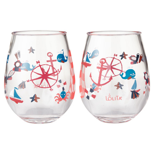 Lolita - Maritime Nautical - Acrylic Stemless Wine Glass - SET of 2 - 6002039