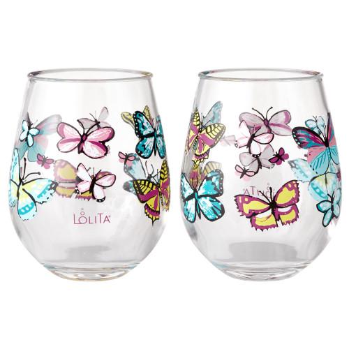Lolita - Butterfly - Acrylic Stemless Wine Glass - SET of 2 - 6002034