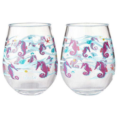Lolita - Butterfly - Acrylic Stemless Wine Glass - SET of 2 - 6002037