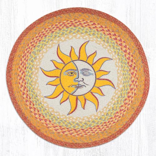 Sun and Moon Round Hand Printed Braided Floor Earth Rug 27