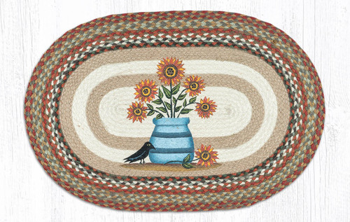"Sunflower Oval Hand Printed Braided Floor Earth Rug 20""x30"" - OP-300"