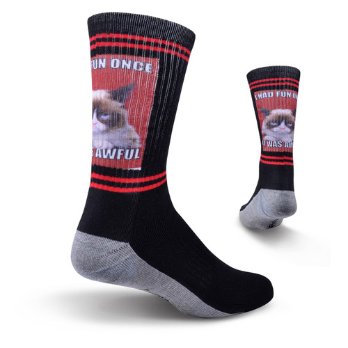 K. Bell Men's Crew Socks- Grumpy Cat - I had Fun Once