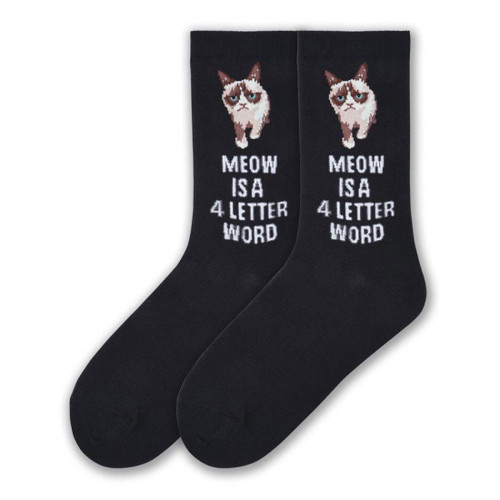 Women's Grumpy Cat Black Meow is a Four Letter Word
