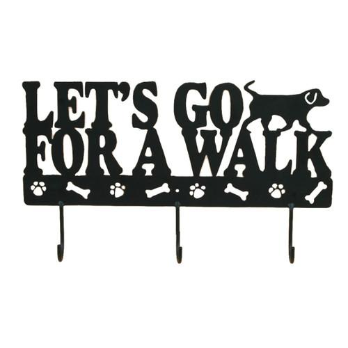 "Metal Art Wall Triple Hook Panel ""Lets Go for a Walk"" - 53933"