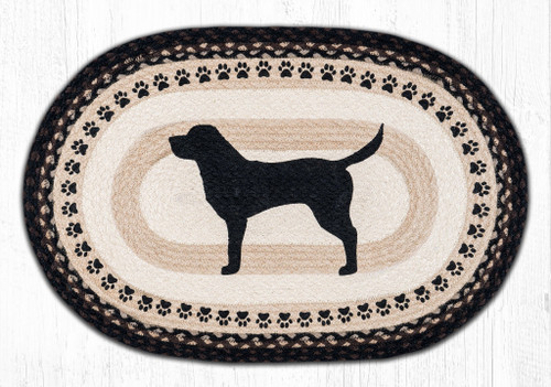 "Black Lab with Paw Print Border Oval Patch Rug 20""x30"" by Earth Rugs"