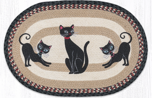 "Crazy Cats Oval Patch Rug 20""x30""by Earth Rugs"