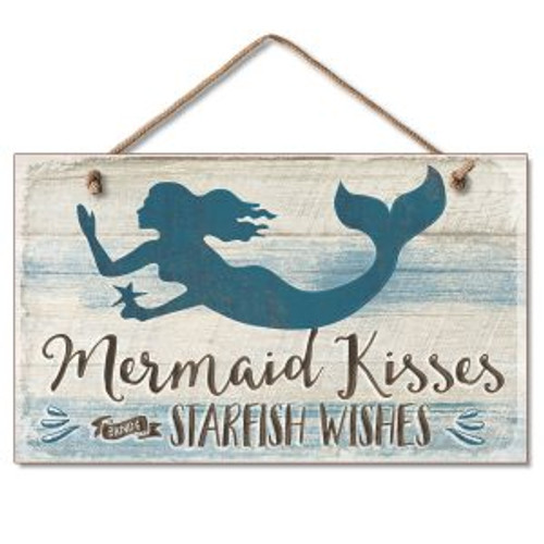 Beach Mermaid Wood Sign - Mermaid Kisses - 41-01819