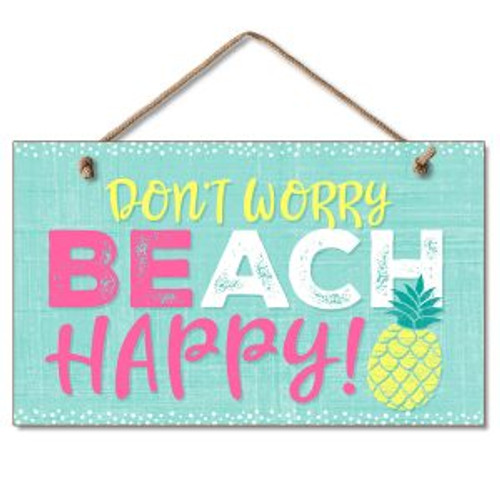 Beach Wood Sign - Don't worry - Beach Happy - 41-01927