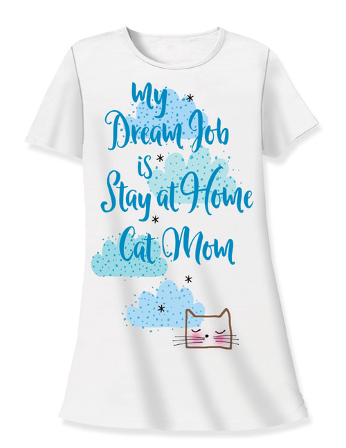 "Cat Theme Sleep Shirt Pajamas ""My Dream Job is Stay at Home CAT Mom"" - 533T"